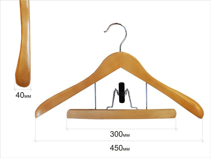 Плечики для одежды type 11В(с брючной вешалкой, бук)