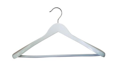 Плечики для одежды type 2W (БЕЛЫЕ, глянец) с широкими плечиками и перекладиной