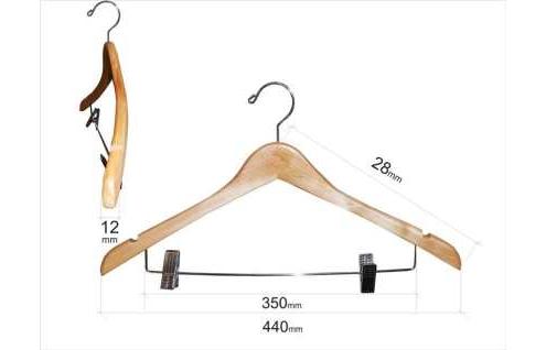 Плечики для одежды type 4В (с прищепками, бук)