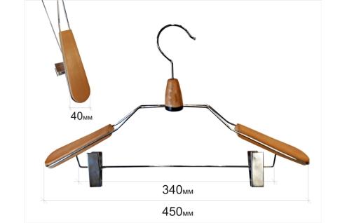 Плечики для одежды type 9B с контурными плечиками(бук) с прищепками